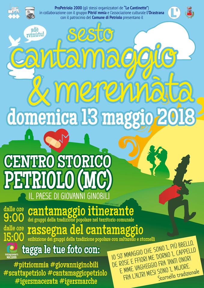 Sesto Cantamaggio e merennàta a Petriolo MC, domenica 13 maggio 2018